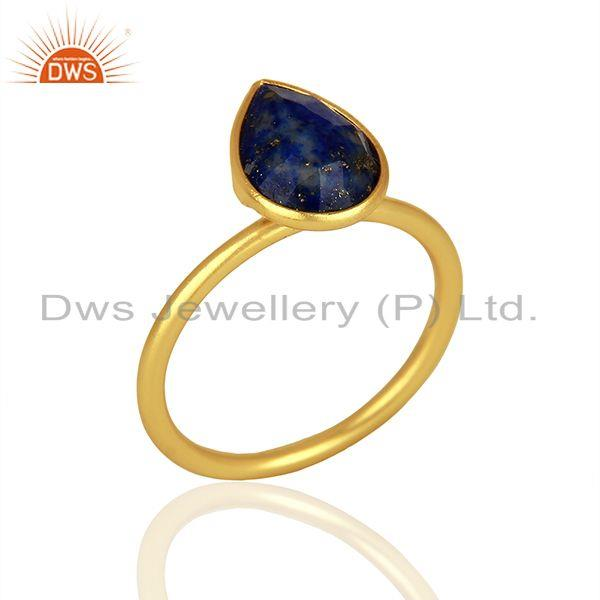 18K Yellow Gold Plated Sterling Silver Lapis Lazuli Gemstone Drop Stackable Ring