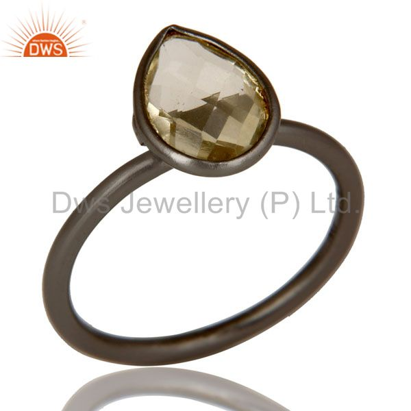 Oxidized Sterling Silver Pear Shaped Lemon Topaz Gemstone Stackable Ring