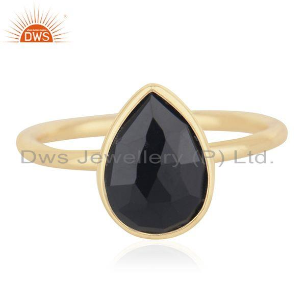Black Onyx Gemstone 925 Sterling Silver Gold Plated Ring Manufacturer from India