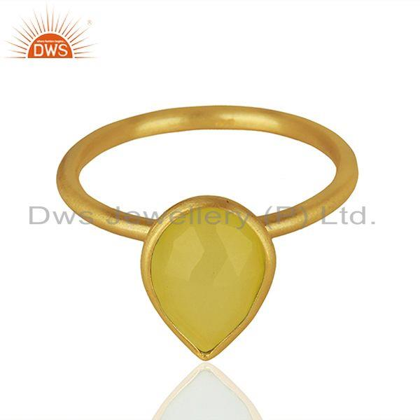 925 Silver Golod Plated Yellow Chalcedony Gemstone Ring Jewelry