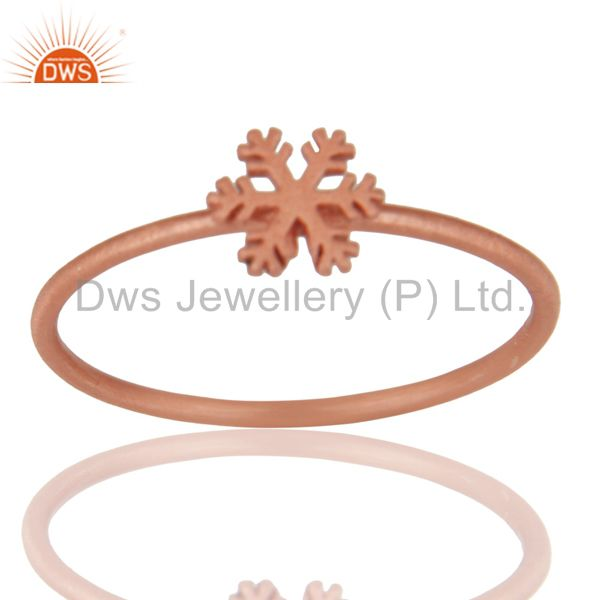 14K Rose Gold Plated 925 Sterling Silver Handmade Art Fashion Stackable Ring