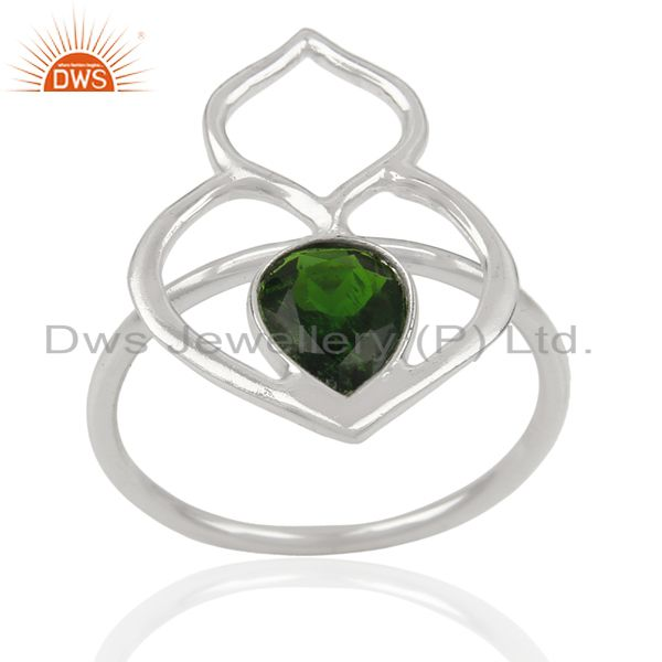 Chrome Diopside Studded Silver Crown Wholesale Ring