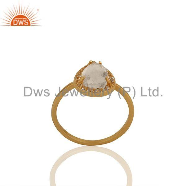 Pear Shape Crystal Quartz Gold Plated 925 Silver Girls Ring Wholesale