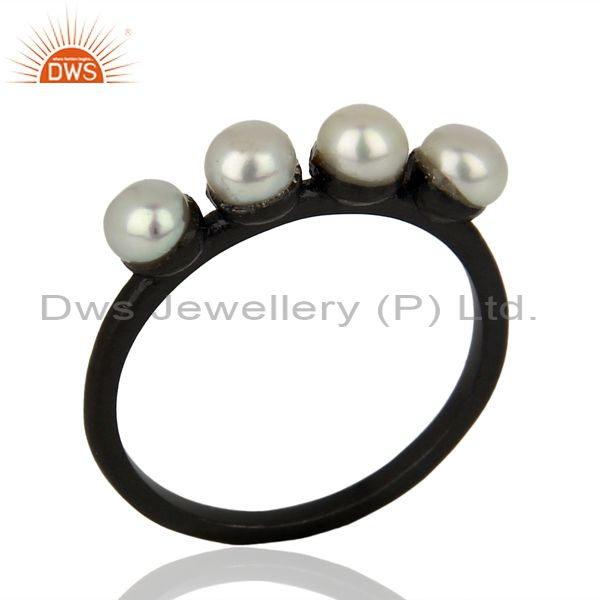 Pearl Band Black Oxidized 925 Sterling Silver Ring Gemstone Jewelry