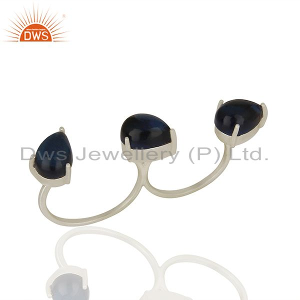 Blue Corundum Gemstone Two Finger Openable Sterling Silver Silver Plated Rings