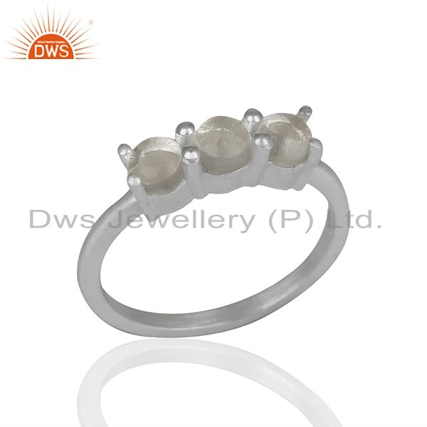 White Rhodium Plated 925 Silver Three Gemstone Rings Supplier