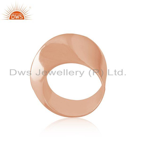 Wholesale Rose Gold Plated Designer Plain Silver Band Ring Jewelry