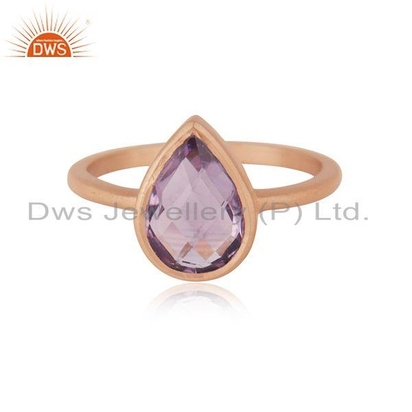 Natural Amethyst Birthstone Rose GOld Plated Ring Manufacturer India