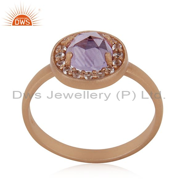 Handmade Rose Gold Plated Sterling Silver Birthstone Amethyst Ring Wholesale
