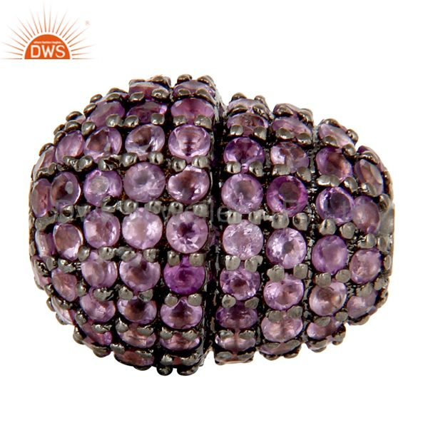Oxidized Sterling Silver Pave Amethyst Gemstone Beads Finding Charms Jewelry