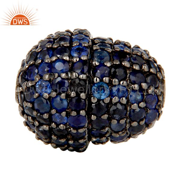 Oxidized Sterling Silver Pave Blue Sapphire Beads Finding Charms Jewelry