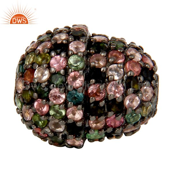 Oxidized Sterling Silver Pave Multi Tourmaline Beads Finding Charms Jewelry