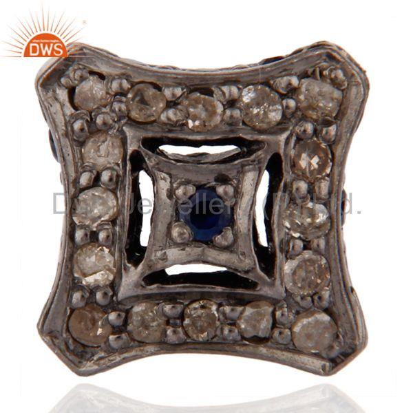 925 Sterling Silver Pave Diamond And Blue Sapphire Bead Finding Jewelry