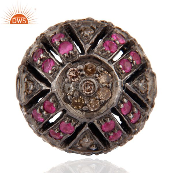 Ruby Gemstone Pave Diamond 925 Sterling Silver Round Bead Finding jewelry