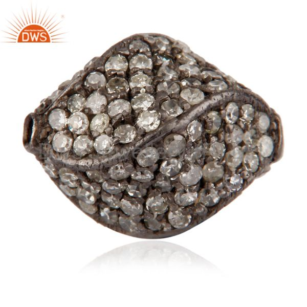 925 Sterling Silver Pave set Diamond Bead Spacer Finding Jewelry