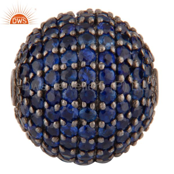 925 Sterling Silver Blue Sapphire Gemstone Bead Finding For Jewelry Making