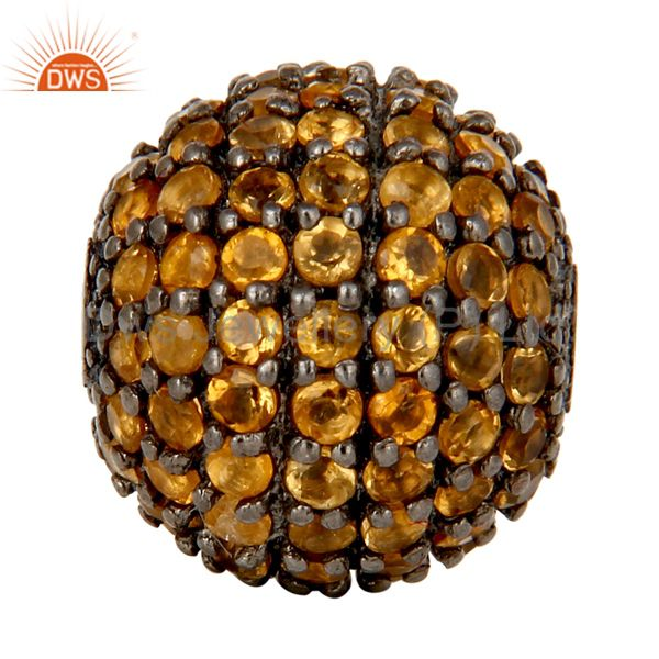 Oxidized Sterling Silver Pave Set Citrine Ball Beads Finding Charms Jewelry