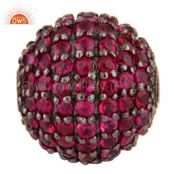 10 MM Natural Ruby Gemstone Beads Made In 925 Sterling Silver Finding Jewelry