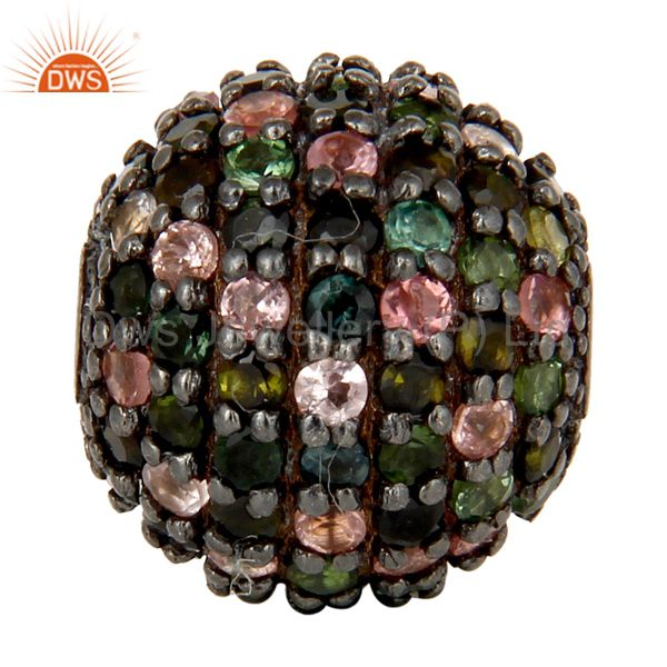 Oxidized Sterling Silver Pave Multi Tourmaline Ball Beads Finding Charms Jewelry