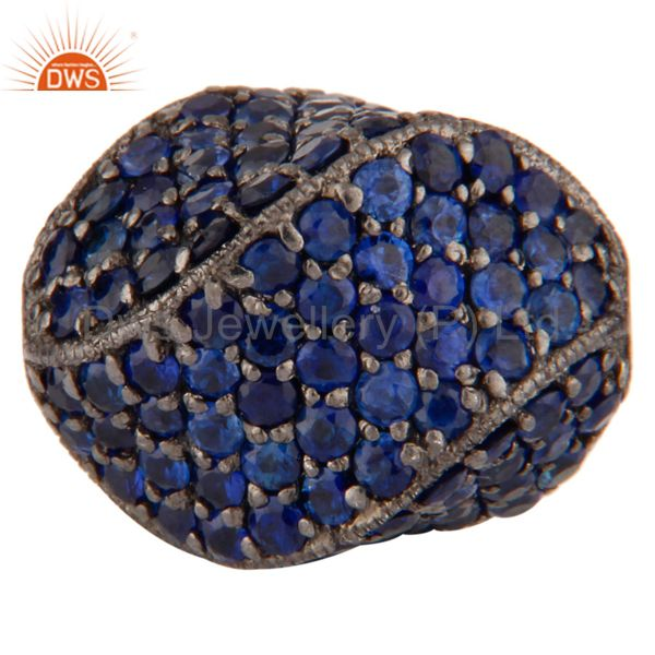 Blue Sapphire Gemstone Studded 925 Sterling Silver Bead Finding Jewelry