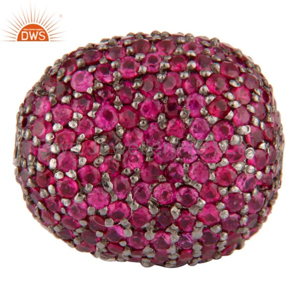 Natural Ruby Gemtone 925 Sterling Silver Bead Spacer Disco Ball Finding Jewelry