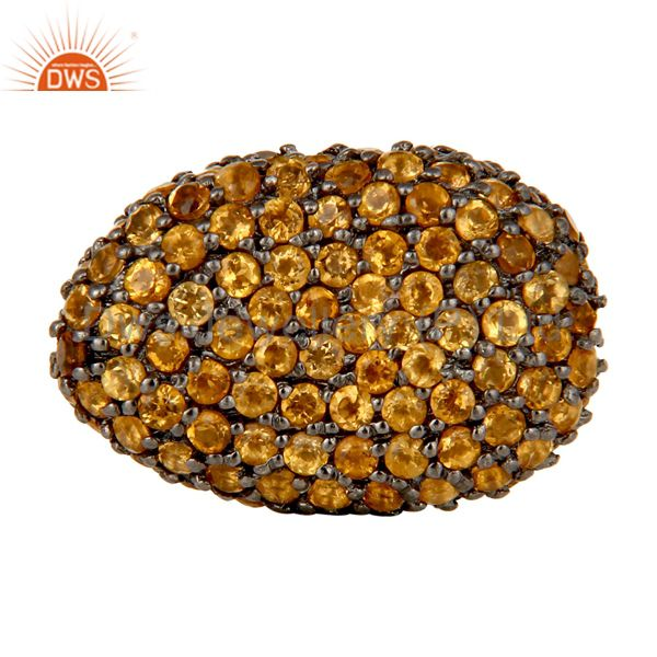 Oxidized Sterling Silver Citrine Pave Set Ball Beads Finding Charms Jewelry