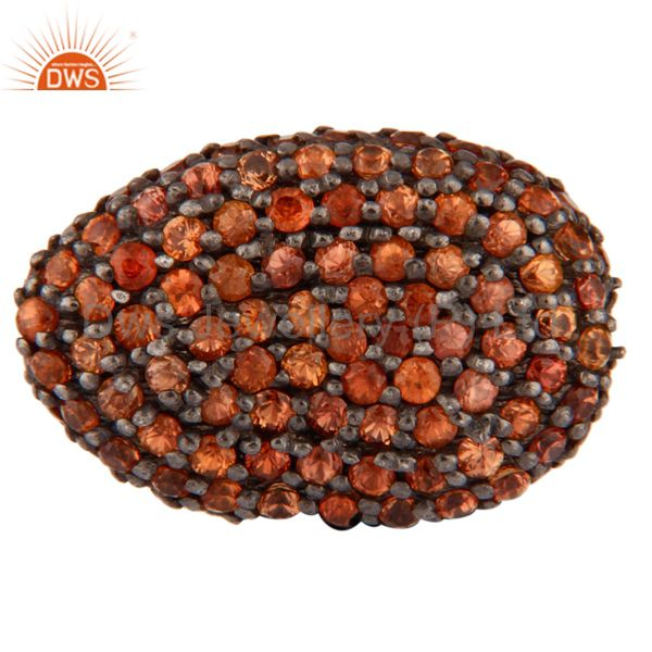Orange Sapphire Disco Ball 925 Sterling Silver Gemstone Loose Bead Finding