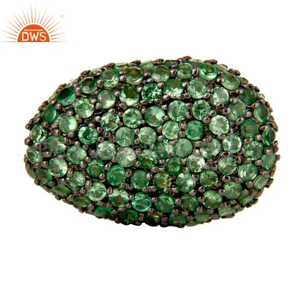 Oxidized Sterling Silver Tsavorite Pave Set Ball Beads Finding Charms Jewelry