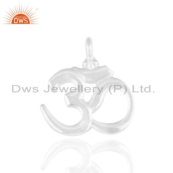 925 Silver Plated Brass Religious Om Aum Symbol Charms Finding Jewelry