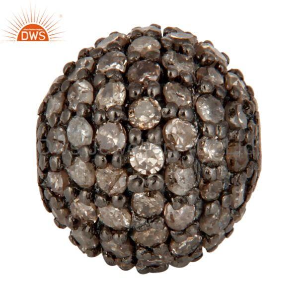 925 Sterling Silver Pave Diamond Bead Jewelry