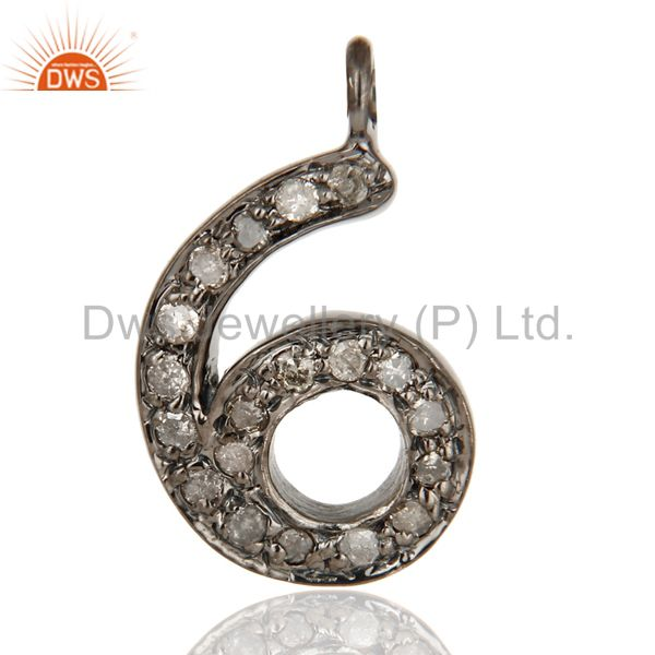 Black Sterling Silver Pave Diamond Block Number Charms Jewelry - 6