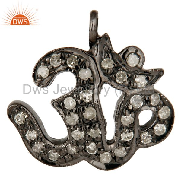 925 Sterling Silver Pave Set Diamond OM Hindu Religious Charm Pendant