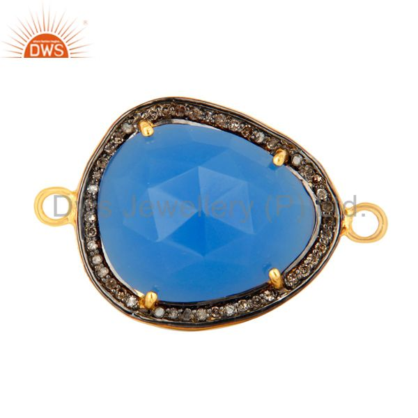 Pave Diamond Blue Chalcedony Gemstone Connector In 18K Gold On Sterling Silver