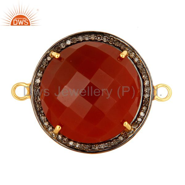 Faceted Red Onyx And Pave Diamond 18K Gold Over Sterling Silver Connector Jewelr
