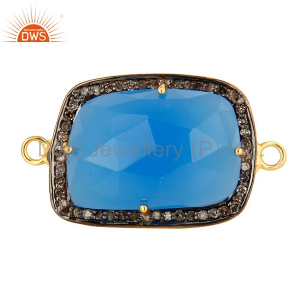 18K Gold Plated Sterling Silver Blue Chalcedony Pave Diamond Gemstone Connector
