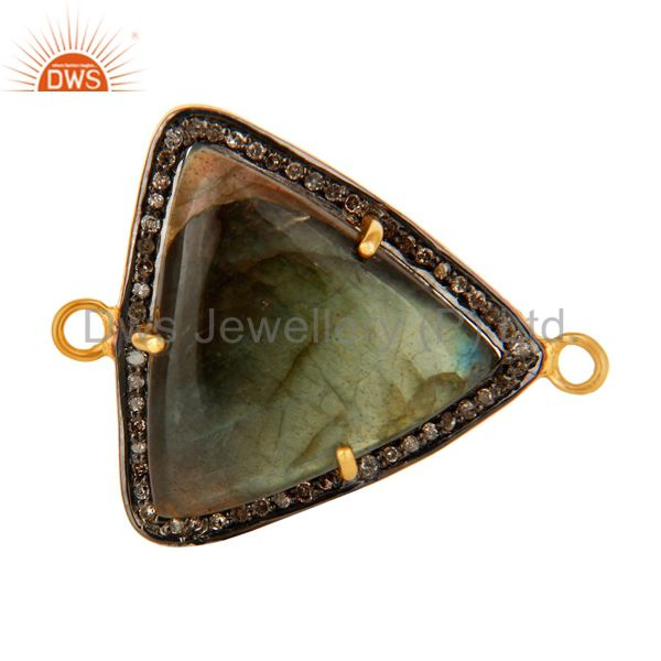 18K Gold Over Sterling Silver Labradorite & Pave Diamond Connector Jewelry