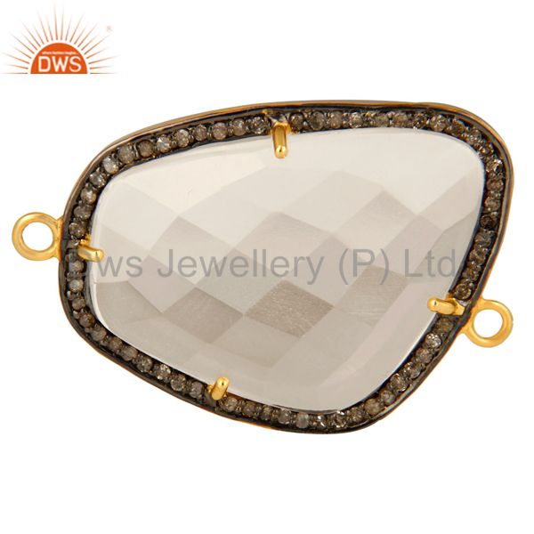 Natural Crystal Quartz Pave Diamond 18K Gold Plated Sterling Silver Connector