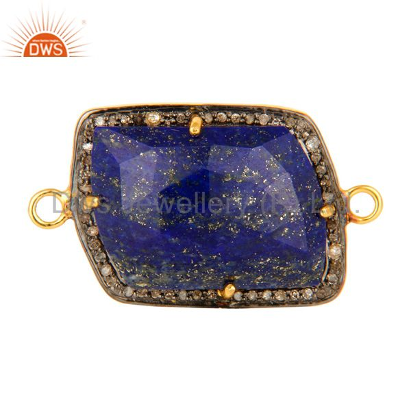 Natural Lapis Lazuli Pave Diamond Connector In 18K Gold On Sterling Silver