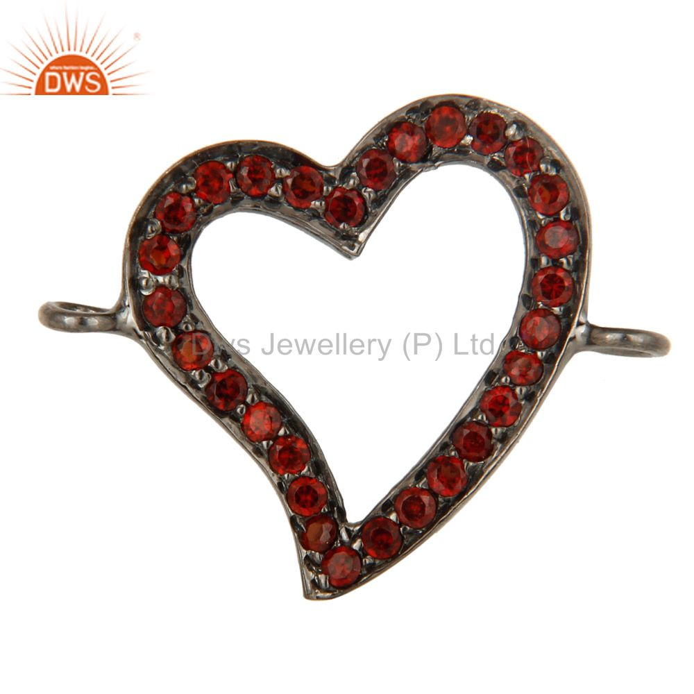 Oxidized Sterling Silver Pave Set Spessartite Garnet Heart Charms Finding Jewelr