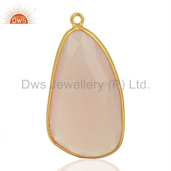 Rose Chalcedony Gemstone Gold Plated Silver Connector Jewelry Supplier