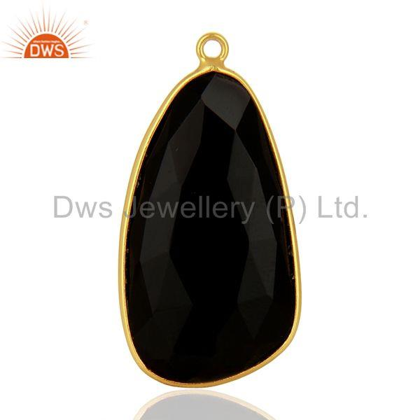 Natural Black Onyx Gemstone Gold Plated 925 Silver Pendant Connectors