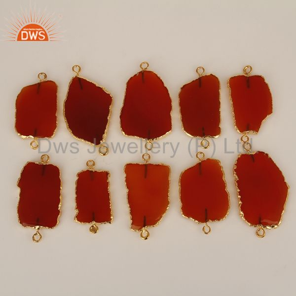 Red Onyx Connectors,Handmade Connector,Electroplated  Gemstones Connector