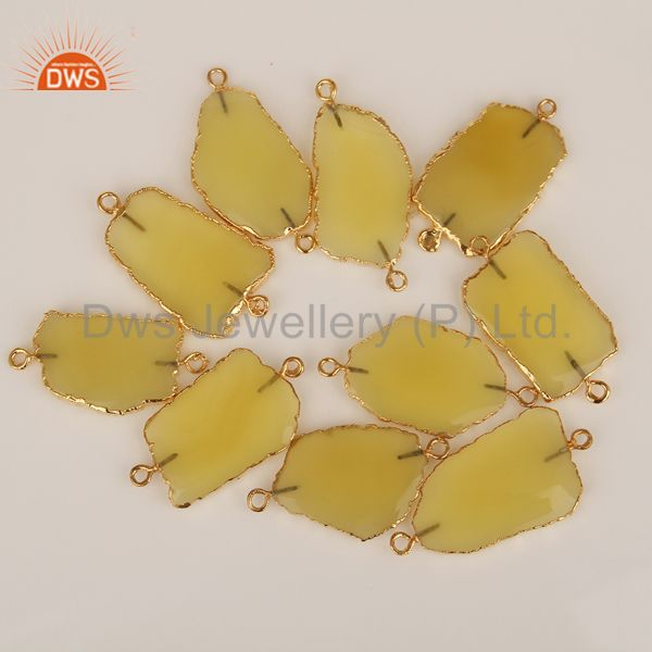 Yellow ChalcedonyConnectors,Handmade Connector,Electroplated GemstonesConnector