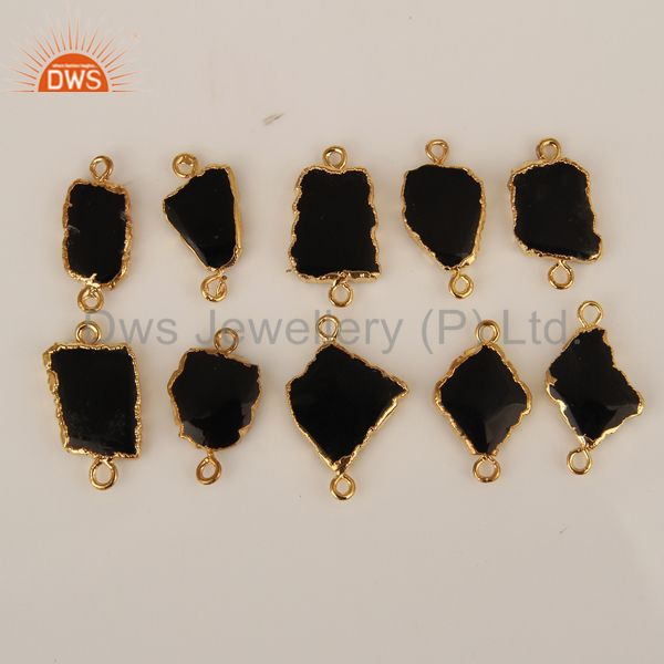Black Onyx Gemstone Connectors 14K Yellow Gold Plated Brass Fashion Jewelry