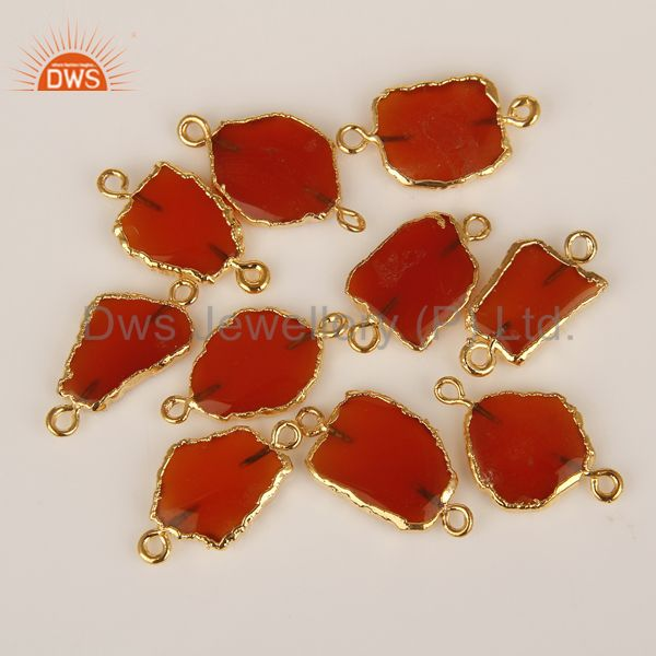 Red Onyx Gemstone Connectors 14K Yellow Gold Plated Brass Fashion Jewelry