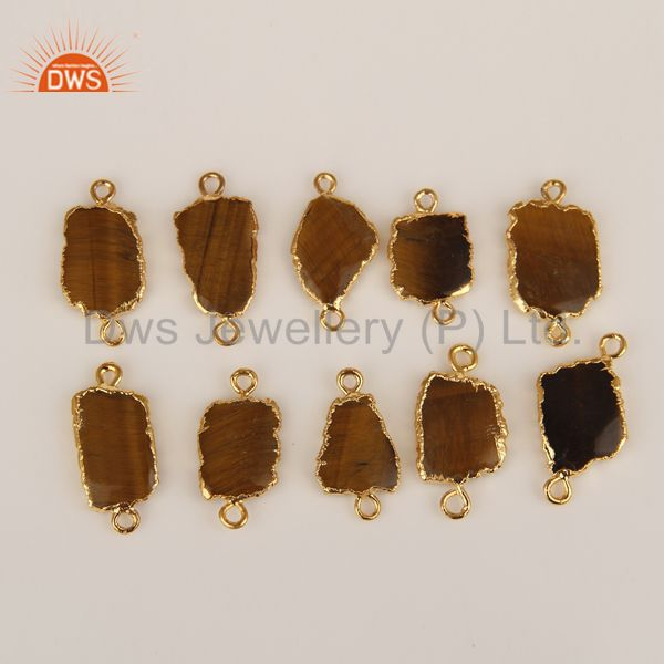 Yellow Tiger Eye Connectors 14K Yellow Gold Plated Brass Fashion Jewelry