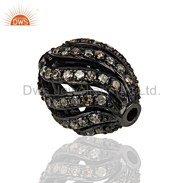 Rhodium Plated Silver Pave Diamond Beads Findings Jewelry Supplier