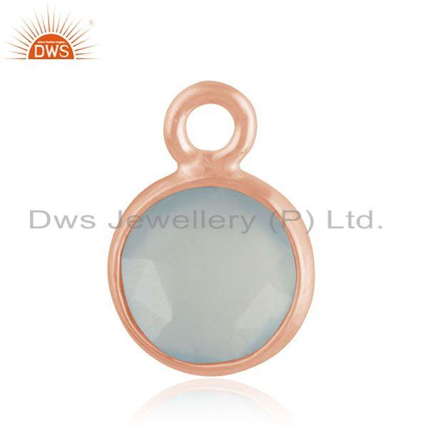 Aqua Chalcedony Gemstone Rose Gold Plated 925 Silver Charm Jewelry Findings