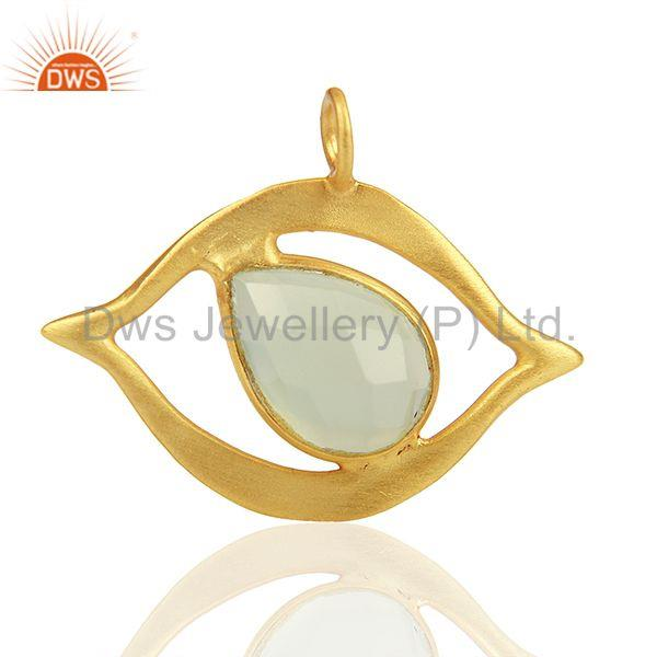 Gold Plated 925 Silver Chalcedony Gemstone Charm Jewelry Findings