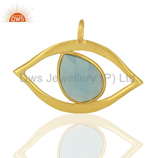 Blue Chalcedony Gemstone Gold Plated Silver Evil Eye Pendnat Finding